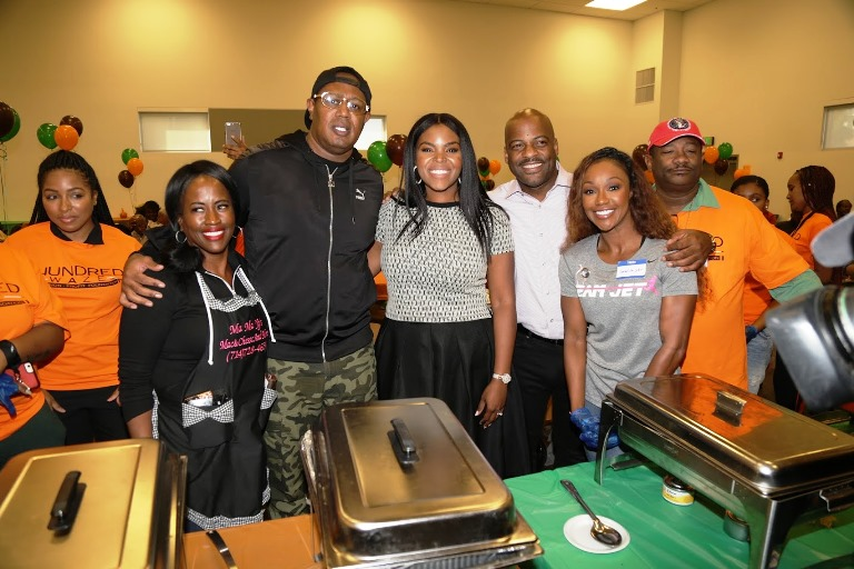 1-(l-to-r) Rapper YG's mother Shonee Jackson, Master P, Compton Mayor Aja Brown, Senate Isadore Hall, Carmelita Jeter, and Bishop LJ Guillory. (Photo by Jerritt Clark).
