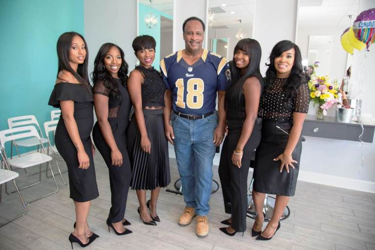 Justweaves grand opening: (From left to right) Tanika Durham, Joy Landrum, Riqua Hailes, Honorable Mayor Butts, Shamica Simmons Lachelle Johnson inside the new Just Weaves in Inglewood, CA. (courtesy of Just Weaves)