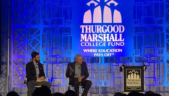 Billionaire Charles Koch addresses the audience during the Thurgood Marshall College Fund's annual gala in Washington, D.C. (Lauren Burke/NNPA)