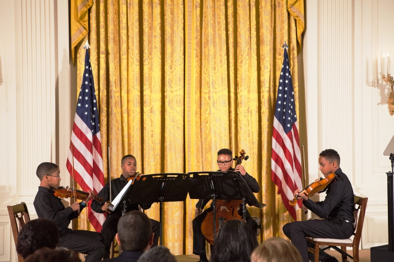 Youth from the Sphinx Organization in Flint,Mich., perform for awards ceremony in the East Room of the White House. (Photo by Cheriss May, HUNS)