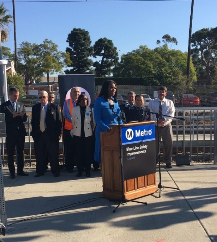 Compton mayor Aja Brown commends Metro's $30 million in safety upgrades along the Blue Line corridor (Courtesy Photo)