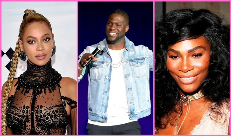 (L-to-R): Beyonce, Kevin Hart and Serena Williams