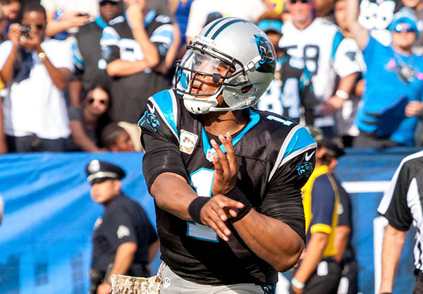 Panthers quarterback Cam Newton had seven carries for 16 yards (Robert Torrence/L.A. Sentinel)