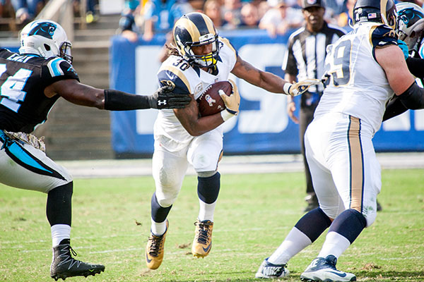 Rams running back Todd Gurley made 12 carries for 48 yards (Robert Torrence/L.A. Sentinel)