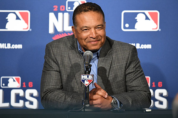 14 October 2016: Los Angeles Dodgers manager Dave Roberts talks with the media prior to Dodgers workout at Wrigley Field prior to the NLCS against the Los Angeles Dodgers in Chicago, IL. (Photo by Patrick Gorski/Icon Sportswire) (Icon Sportswire via AP Images)