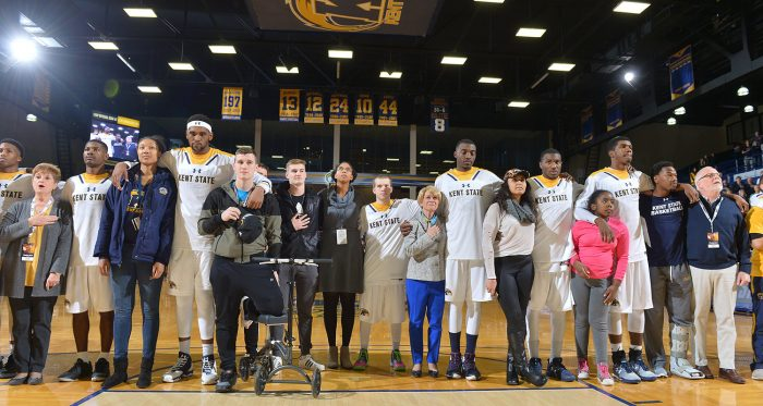 Kent State Men's Basketball Displays Unity During National Anthem (Courtesy of Kent State University)