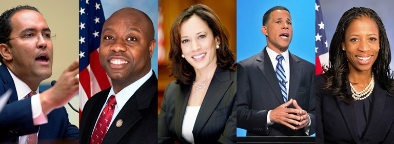 (From L-to-R): Will Hurd (R-Texas), Tim Scott (R-S.C.), Senator-elect Kamala Harris, Congressman-Elect Anthony Brown and Mia Love (R-Utah)