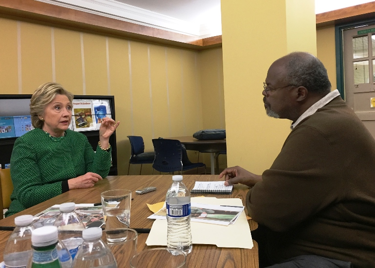 Hillary Clinton, Democratic presidential nominee, discusses the issues in an exclusive with veteran journalist, Cash Michaels, editor of The Carolinian in Raleigh and a Peacemaker contributor. (The Carolinian)