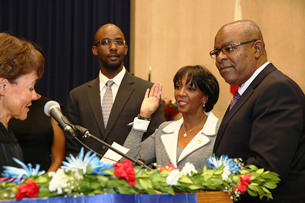 Los Angeles County District Attorney Jackie Lacey is sworn into office for her second term by Associate Justice Audrey B. Collins of the Second District Court of Appeal for the State of California. (Los Angeles County District Attorney)