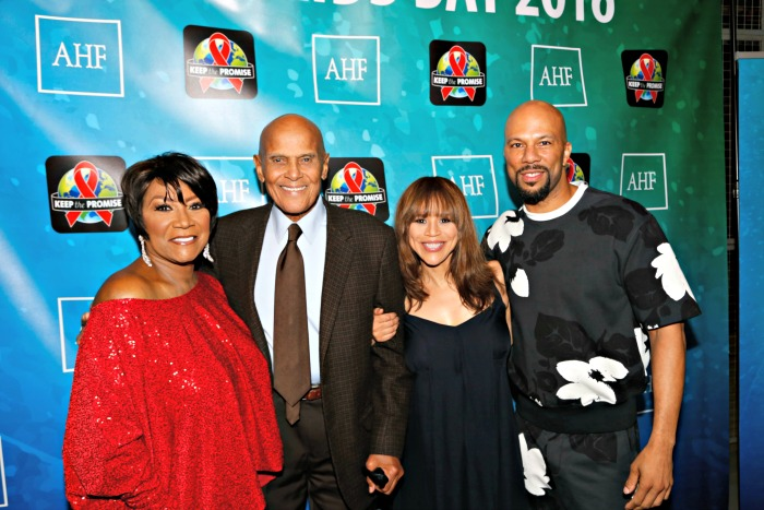 (L-R) Patti LaBelle, Harry Belafonte, Rosie Perez, Common (Photo by A Turner Archives)