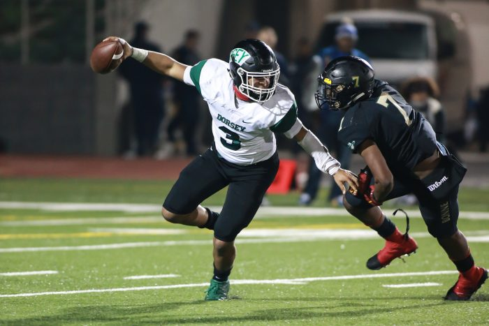 Dorsey quarterback Jerman Gotoy (#3)  (Photo by  Jevone Moore/Full Image 360)