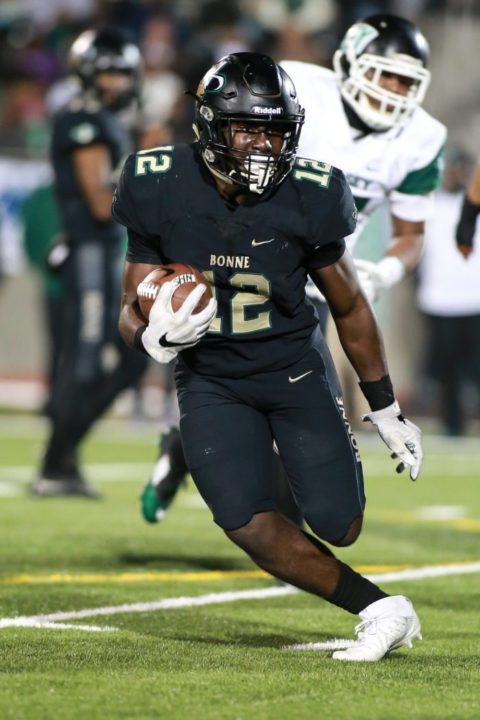 Narbonne running back Kameron Denmark (#12) (Photo by  Jevone Moore/Full Image 360)