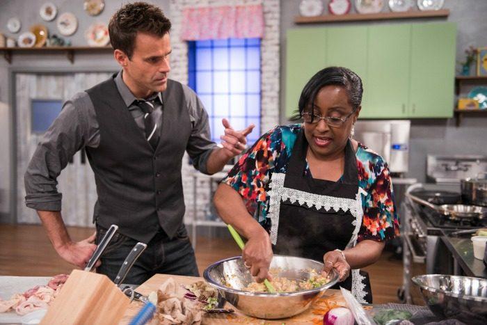 Clash of the Grandmas host Cameron Mathison and contestant Veronica Hendrix (photo courtesy: Food Network)