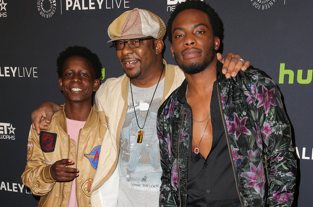 Actor Tyler Williams, recording artist Bobby Brown, and actor Woody McClain attend The Paley Center for Media's World Premiere Screening and Panel Discussion of BET's The New Edition Story at the Paley Center on Dec. 14, 2016 in Beverly Hills, Calif. (Photo Credit: Imeh Bryant for The Paley Center)