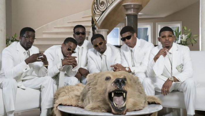 (l-r) Elijah Kelley as Ricky Bell, Algee Smith as Ralph Tresvant, Y. Gray as Bivins, singer Luke James as Johnny Gill, Woody McClain as Bobby Brown, Keith Powers as Ronnie DeVoe, and Bryshere Y. Gray as Michael Bivins in The New Edition Story biopic scheduled to air in three-part miniseries on BET January 24-26, 2017. (Courtesy of BET Networks)