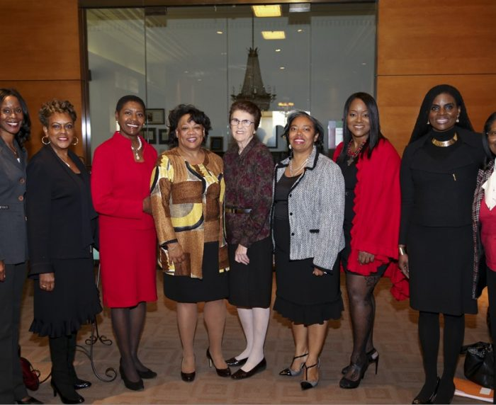 (L-R) Hon. Irma J. Brown, Hon. Diana Becton Smith, Hon. Marguerite D. Downing, Southwestern Dean Susan Westerberg Prager, BWL President Amber Finch, Hon. Patricia J. Titus, Hon. Carol Codrington, BWL 3rd President Shirley Henderson (courtesy of BWL)