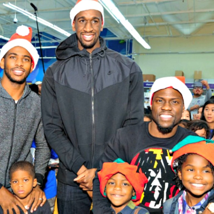 "When Chris Paul, Kevin Hart and Ekpe Udoh Treated 100 Kids to Toys ""R"" Us Shopping Spree back in 2014. This year's 500 Kid Holiday Shopping Spree — Holiday Takeover — is Courtesy of Chris Paul, Kevin Hart and Chase"