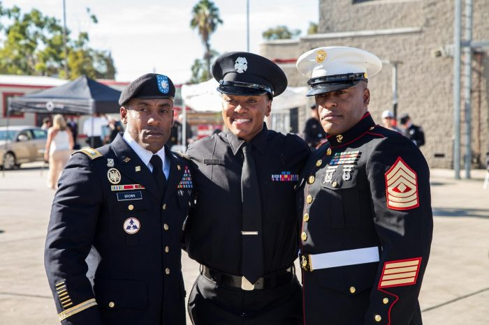 Left to Right: TA'Ana Mitchell's brother William Brown, MGST USMC, her mother Andriea Cavil and her brother Andre Brown LtCol Army.