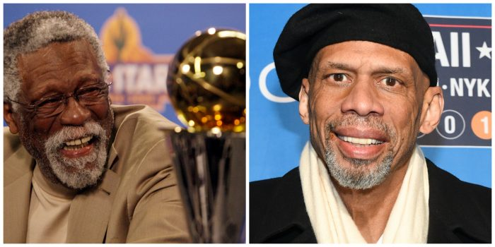 Bill Russell  on left (AP Photo/Ross D. Franklin) Kareem Abdul-Jabbar on right (Photo by Scott Roth/Invision/AP)