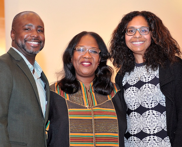 Councilmember Marqueece Harris-Dawson, Pastor Minor and Sydney Kamlager-Dove (photo by Valerie Goodloe)