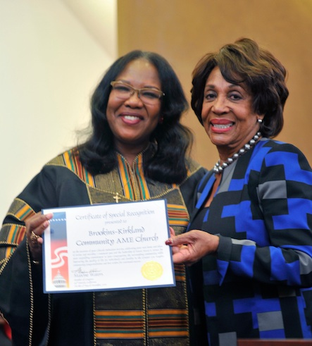 Pastor Mary S. Minor and Congresswoman Maxine Waters (photo by Valerie Goodloe)