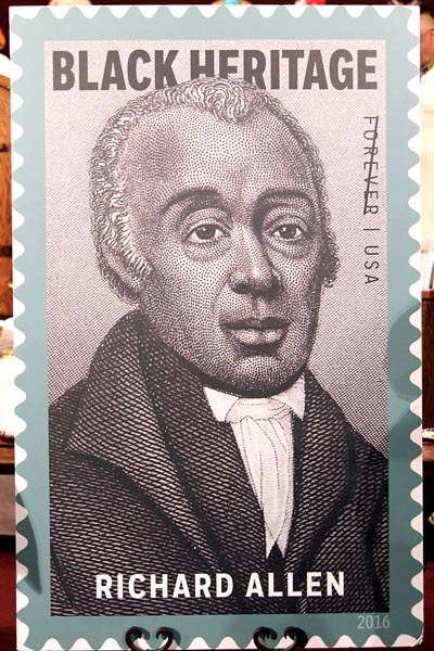 The USPS issued the Bishop Richard Allen stamp on Feb. 2 in Philadelphia, Penn. (USPS photo)