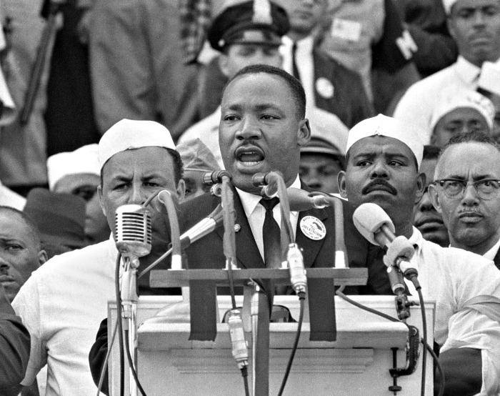 """In this Aug. 28, 1963, black-and-white file photo Dr. Martin Luther King Jr., head of the Southern Christian Leadership Conference, addresses marchers during his """"I Have a Dream"""" speech at the Lincoln Memorial in Washington. NBC News says it will rebroadcast a 1963 """"Meet the Press"""" interview with Martin Luther King Jr. in honor of the March on Washington's 50th anniversary next week. King appeared on the news program three days before his landmark """"I Have a Dream"""" speech at the civil rights march. (AP Photo/File)"""