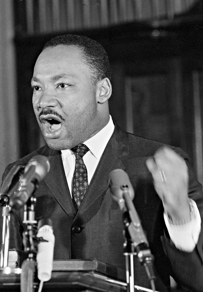 The Rev. Martin Luther King Jr. addresses a Selma, Ala., rally on Feb. 22, 1965, telling the crowd that blacks won't abide by Gov. George Wallace's ban against night demonstrations. Wallace issued the order after a racial incident in Marion, Ala., during which several people were injured. (AP Photo)