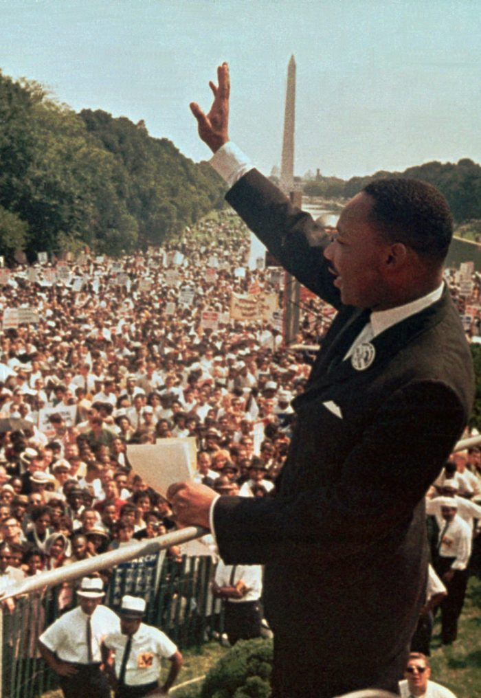 "Dr. Martin Luther King Jr. acknowledges the crowd at the Lincoln Memorial for his ""I Have a Dream"" speech during the March on Washington, D.C. Aug. 28, 1963. Thursday April 4, 1996 will mark the 28th anniversary of his assassination in Memphis, Tenn. The Washington Monument is in background. (AP Photo/File)"