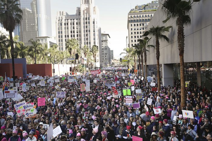 LETTING THEIR VOICES BE HEARD:  Over 750,000 Women from all over the State of California gathered in Downtown Los Angeles to stand united and let newly sworn in President Donald Trump know that there issues should and will be heard.  Protesters also gathered in Washington DC, New York and all across America and even in some other parts of the the world calling attention to the many issues that affect women and letting the President know they will not go quietly nor sit on the side lines for the next four years.(AP Photo/Jae C. Hong)