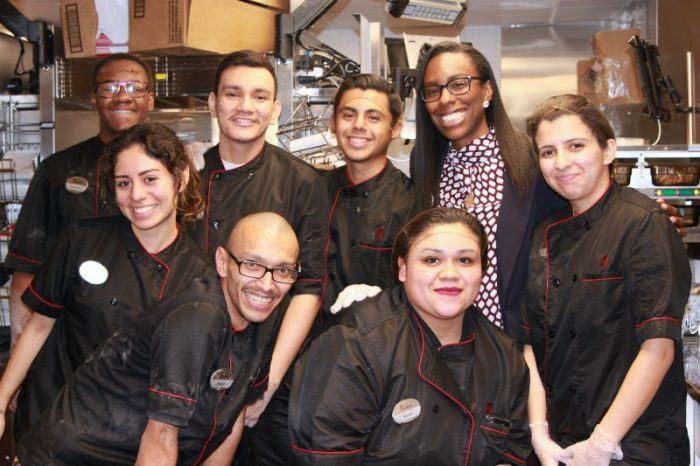 More of Kayla Griffin's (right) Chick-Fil-A team members Front Jason Amezquita, Marly Potosme, Middle: Julisa Zamora & Isabel Ramirez-Serrano Back: Terrence Jones, Oscar Carreon, & Luis Robles (Photo By: Zon D'Amour)