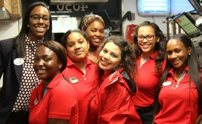 Some of Kayla Griffin's (far left) Chick-Fil-A team members Back: Destini Collins, Middle: Olivia Dunn & Teana Warren Front: Jameka Reynolds, Emily Romero and Cassidy Davis (Photo By: Zon D'Amour)