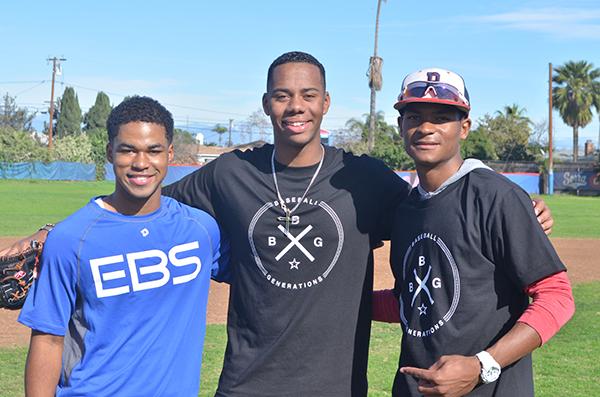 (left to right) high school baseball players Tristan Thomas, Hunter Greene, and Damone Hale (Amanda Scurlock/L.A. Sentinel)