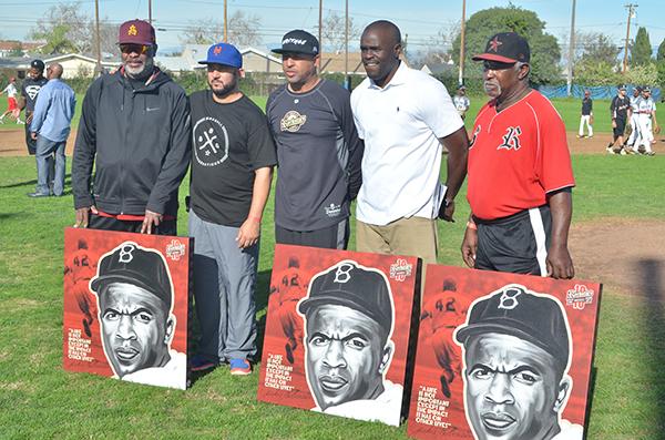(Left to right) Carl Nichols, Jason McLaughlin, Erikk Aldridge, Kevin Martin, and James Harper (Amanda Scurlock/L.A. Sentinel)