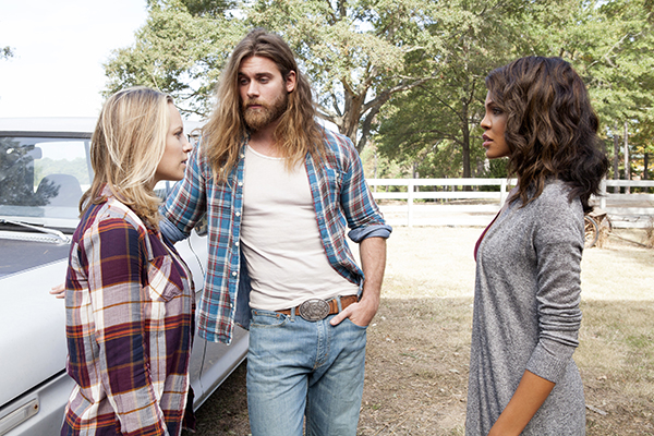 "This image released by TLC shows form left to right, Danielle Savre as Anna, Brock O'Hurn as Brody and Crystle Stewart as Frankie in a scene from Tyler Perry's TLC drama ""Too Close to Home."" (TLC via AP)"
