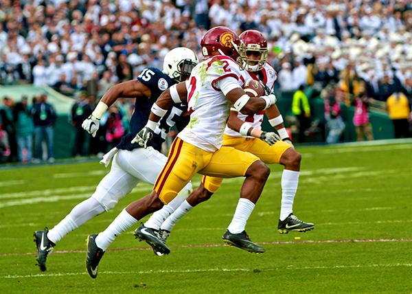 Adoree' Jackson (2) runs by cornerback Grant Haley at the 2017 Rose Bowl (E. Mesiyah McGinnis)