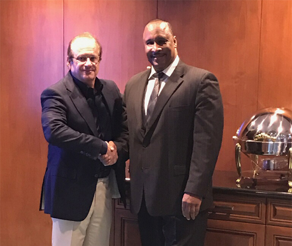 Inglewood mayor James Butts (right) poses with L.A. Chargers CEO and president Dean Spanos (left) (Courtesy photo