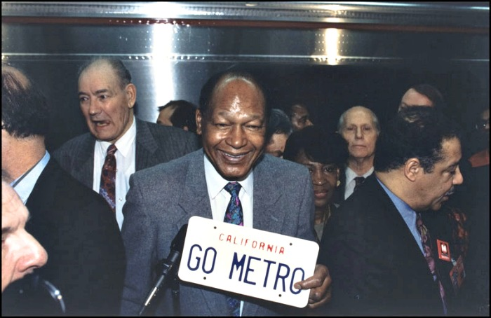 On January 29, 1993, former Los Angeles Mayor Tom Bradley stood among a swarm of public officials and transit agency staffers on the cramped Pershing Square subway platform. Bradley proudly inaugurated the opening of the first modern subway in Los Angeles.