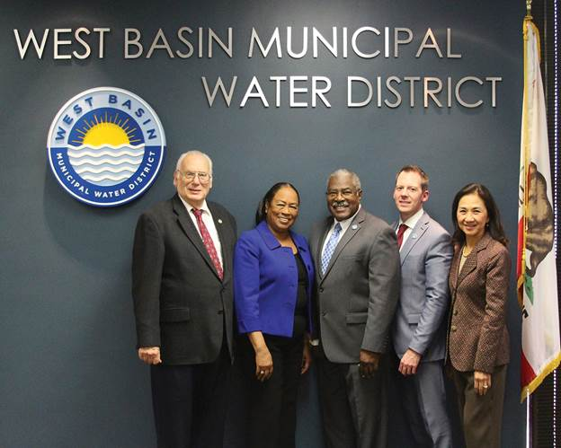 2017 West Basin Municipal Water District Board of Directors (from left): Donald Dear, Division V; Gloria Gray, Division II; Harold Williams, Division I; Scott Houston, Division IV; and Carol Kwan, Division III.
