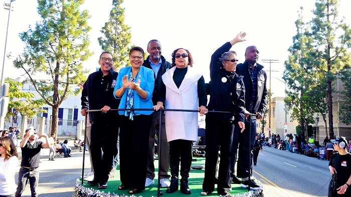 Elected officials greet the crowd (L-to-R): L.A. City Council President Herb Wesson, Congresswoman Karen Bass, Councilman Curren D. Price, Jr., Del Richardson Price, Fabian Wesson and Councilman Marqueece Harris-Dawson.