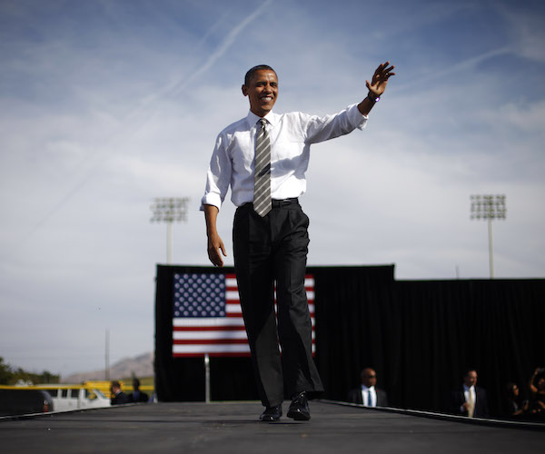 President Barack Obama speaks during a campaign event at Cheyenne Sports Complex in Las Vegas, Thursday, Nov. 1, 2012. Obama resumed his presidential campaign with travel to key background states of Wisconsin, Colorado, Nevada and Ohio today. (AP Photo/Pablo Martinez Monsivais)
