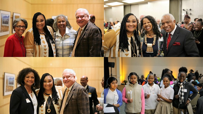 "(top right; l-r) Fabian Wesson, Maryum ""May May"" Ali, Former Supervisor Yvonne Braithwaite Burke and SCAQMD Governing Board Chairman, Dr. William A. Burke; (top left; l-r) Maryum ""May May"" Ali, Dr. Jeanette Parker and SCAQMD Board Member, Dr. Clark E. Parker; (bottom right; l-r) Eloise Laws, Maryum ""May May"" Ali and SCAQMD Chairman, Dr. William A. Burke; (bottom left; l-r) Students from Today's Fresh Start Charter School"