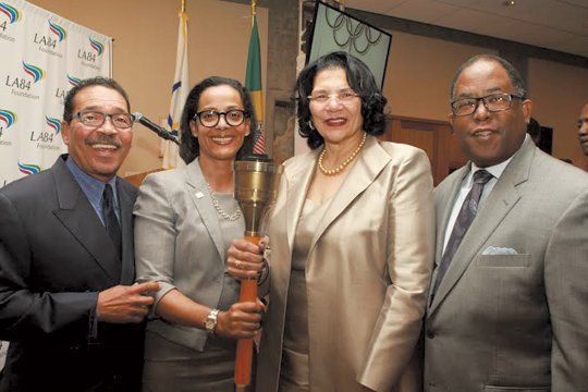 (L-to-R)Herb Wesson, Renata Simril, Anita DeFrantz and Mark Ridley-Thomas. DeFrantz, who served as the LA84 Foundation President for 28 years passed the torch to Simril during LA84's Hail and Farewell in January 2016 (Photo Courtesy LA84 Foundation)