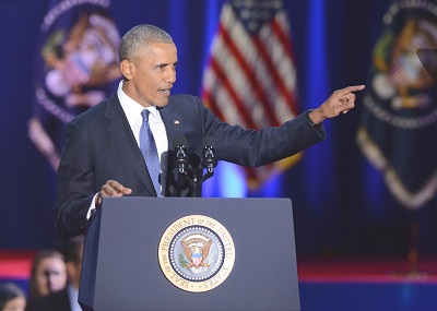 """President Barack Obama delivers a farewell speech that highlighted the goals and accomplishments of his administration in Chicago, Ill. The crowd chanted """"four more years,"""" during the speech. (Derick Triplett/Chicago Crusader)"""