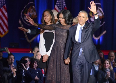 President Barack Obama is joined on the stage by Firrst Lady Michelle Obama, their oldest daughter Malia, Vice President Joe Biden and his wife, Dr. Jill Biden on January 10, 2016 at Chicago's McCormick Place.  (Derick Triplett/Chicago Crusader)