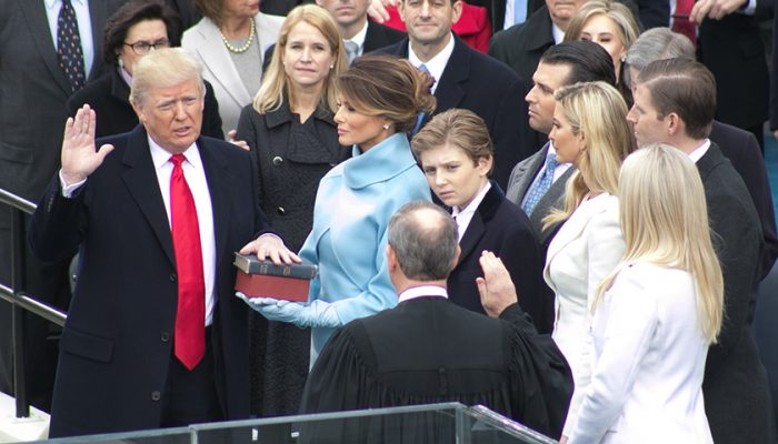 President-elect Donald Trump takes the oath of office during his inauguration at the United States Capitol on January 20, 2017. (Shevry Lassiter/The Washington Informer)