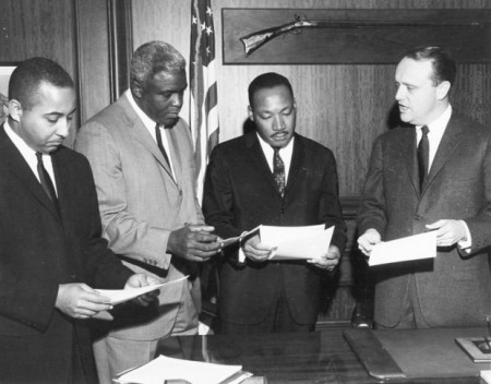 "Gov. Edward T. ""Ned"" Breathitt, right, met with, left to right, Frank Stanley Jr., Jackie Robinson and the Rev. Martin Luther King Jr. Photo by Bob Daugherty/Associated Press"