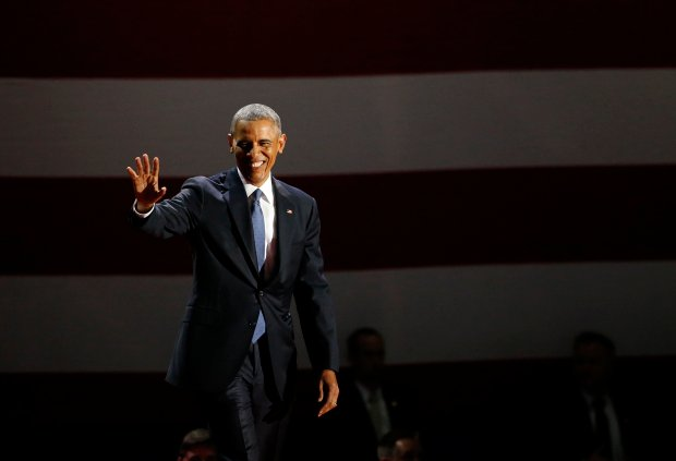 President Barack Obama waves as he arrives to speak at McCormick Place in Chicago, Tuesday, Jan. 10, 2017, giving his presidential farewell address. (AP Photo/Nam Y. Huh)