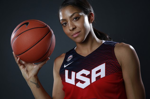FILE - In this March 9, 2016 file photo, basketball player Candace Parker poses at the 2016 Team USA Media Summit, in Beverly Hills, Calif. Candace Parker was shocked and disappointed when she learned that she will not be on the U.S. women's basketball Olympic roster. The 30-year-old forward was informed of USA Basketball's decision not to include her for Rio last week. The two-time WNBA MVP helped the Americans win the gold medal in the past two Olympics.Parker told The Associated Press on Tuesday, April 26, 2016, that she was surprised by the choice. (AP Photo/Damian Dovarganes, File)