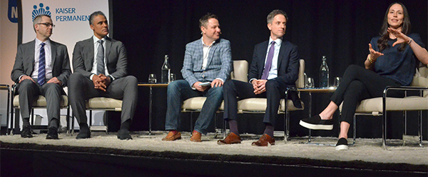 (left to right) Mental Health leader Don Morecai M.D., Rick Fox, Sports Writer Martin Rogers, Chief of Sports Medicine Jason Brayley M.D., and Sue Bird. (Amanda Scurlock/ L.A. Sentinel)